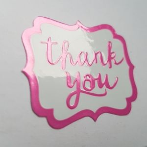 """25 Removable Thank You Stickers Pink 1.5""""x1.5"""""""